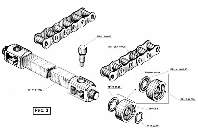 Рис. 3 Механизм прессующий пресс-подборщика ПРФ 180